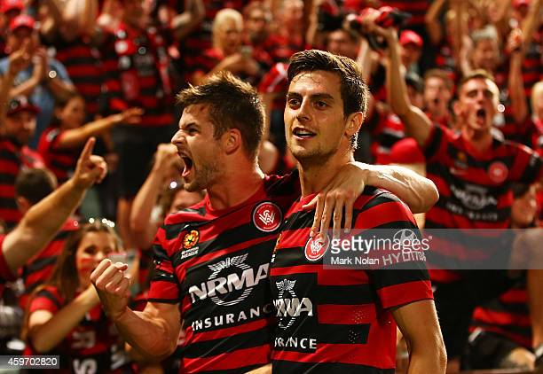 Brendan Hamill and Tomi Juric of the Wanderers celebrate a goal by Juric during the round eight ALeague match between Western Sydney Wanderers and...