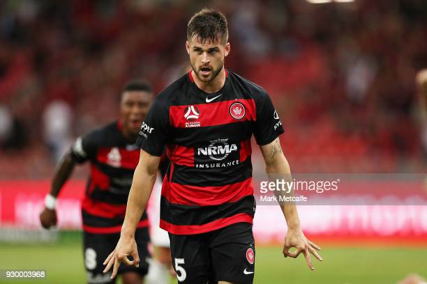 Brendan Hamill of the Wanderers celebrates scoring a goal during the round 22 ALeague match between the Western Sydney Wanderers and the Wellington...