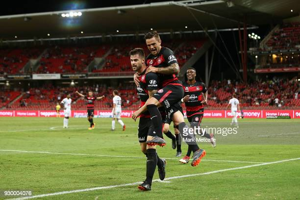 Brendan Hamill of the Wanderers celebrates scoring a goal with team mate John Risdon of the Wanderers during the round 22 ALeague match between the...
