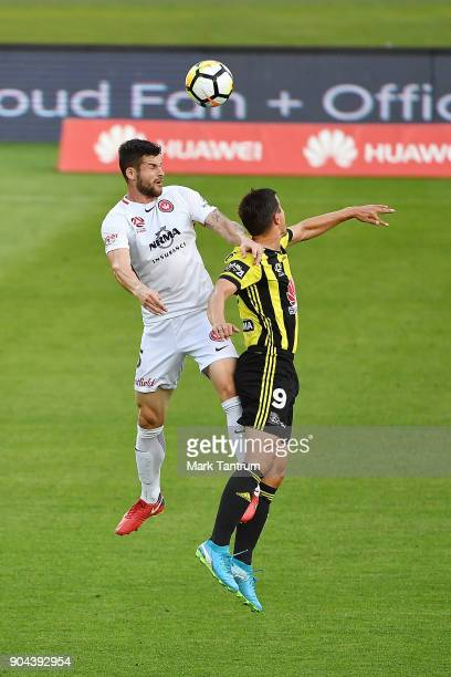 Brendan Hamill of the Western Wanderers and Andrija Kaluderovic of the Wellington Phoenix during the round 16 ALeague match between the Wellington...