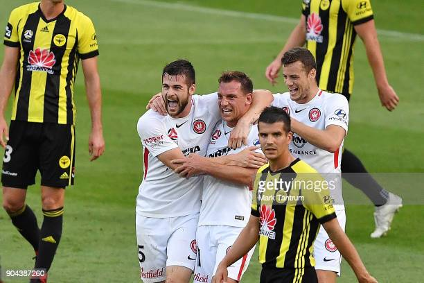Brendan Hamill of the Western Wanderers and Jerrad Tyson of the Western Wanderers celebrate Jerard's first goal during the round 16 ALeague match...