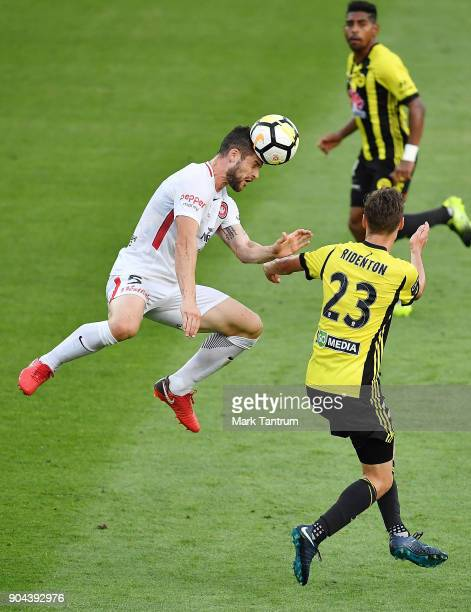 Brendan Hamill of the Western Wanderers and Matthew Ridenton of the Wellington Phoenix during the round 16 ALeague match between the Wellington...