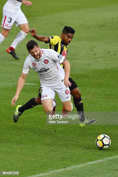 Brendan Hamill of the Western Wanderers and Roy Krishna of the Wellington Phoenix during the round 16 ALeague match between the Wellington Phoenix...