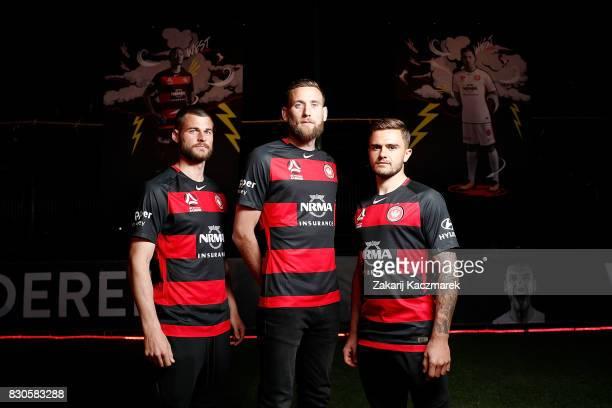 Brendan Hamill Robbie Cornthwaite and Josh Risdon pose during the Western Sydney Wanderers 2017/18 ALeague Season kit launch on August 11 2017 in...