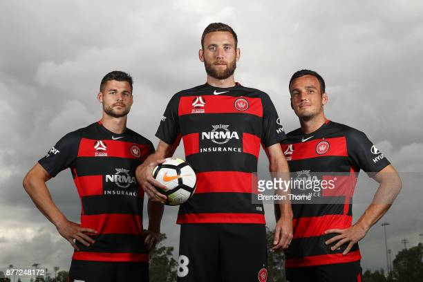 Brendan Hamill Robert Cornthwaite and Mark Bridge pose during the Western Sydney Wanderers captaincy announcement at Blacktown International...