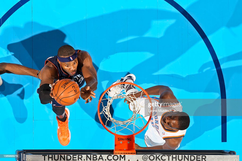 Brendan Haywood #33 of the Charlotte Bobcats drives to the basket against the Oklahoma City Thunder on November 26, 2012 at the Chesapeake Energy Arena in Oklahoma City, Oklahoma.