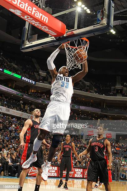 Brendan Haywood of the Charlotte Bobcats dunks against the Toronto Raptors at the Time Warner Cable Arena on November 21 2012 in Charlotte North...
