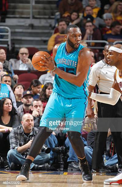 Brendan Haywood of the Charlotte Hornets handles the ball against Brendan Haywood of the Cleveland Cavaliers on January 23 2015 at Quicken Loans...
