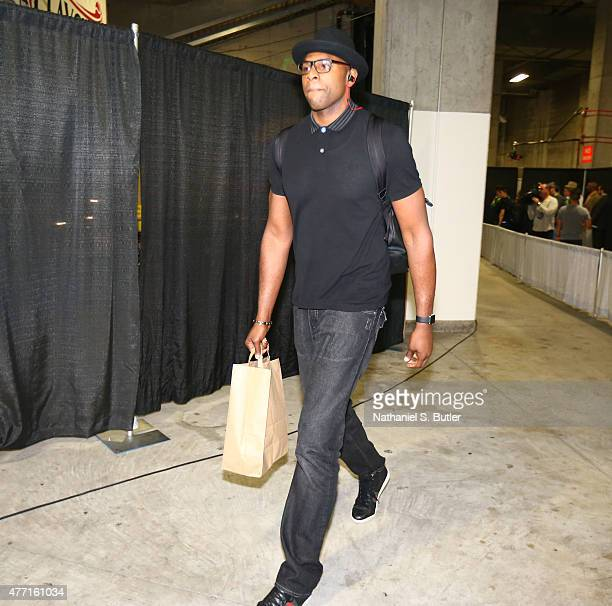 Brendan Haywood of the Cleveland Cavaliers arrives prior to Game Five of the 2015 NBA Finals on June 14 2015 at Oracle Arena in Oakland California...