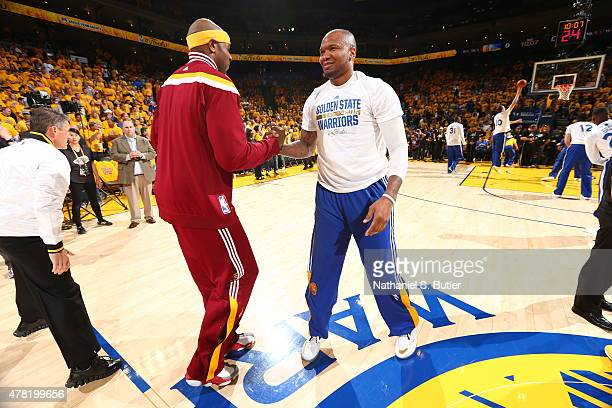 Brendan Haywood of the Cleveland Cavaliers greets Marreese Speights of the Golden State Warriorsduring Game Two of the 2015 NBA Finals on June 7 2015...