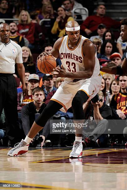 Brendan Haywood of the Cleveland Cavaliers handles the ball against the Minnesota Timberwolves at The Quicken Loans Arena on December 23 2014 in...