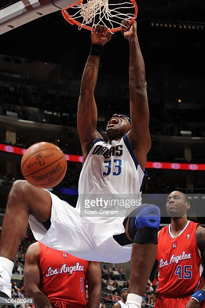 Brendan Haywood of the Dallas Mavericks dunks against the Los Angeles Clippers at Staples Center on October 31 2010 in Los Angeles California NOTE TO...