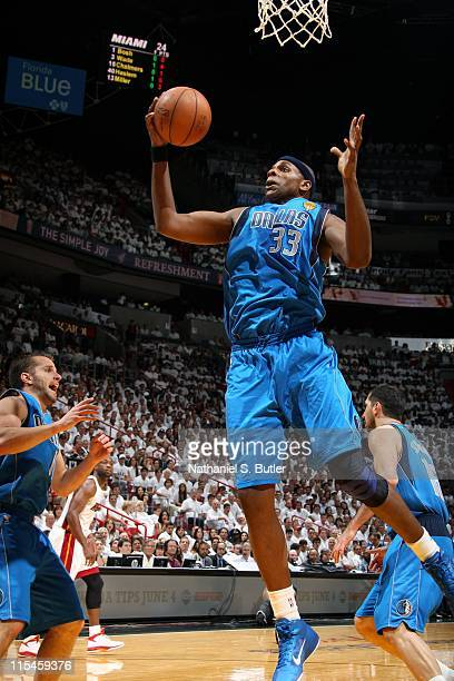 Brendan Haywood of the Dallas Mavericks rebounds against the Miami Heat during Game One of the 2011 NBA Finals on May 31 2011 at the American...