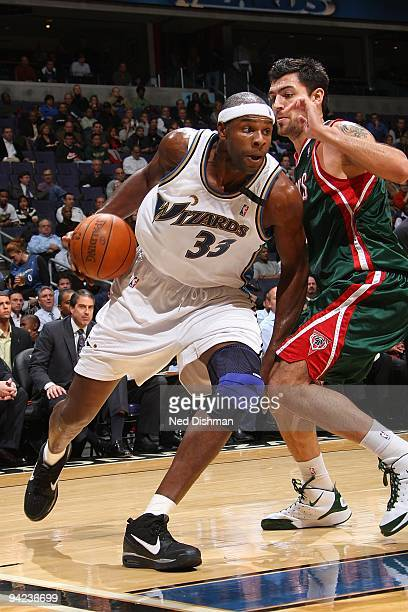 Brendan Haywood of the Washington Wizards drives against Ersan Ilyasova of the Milwaukee Bucks during the game on December 2 2009 at the Verizon...