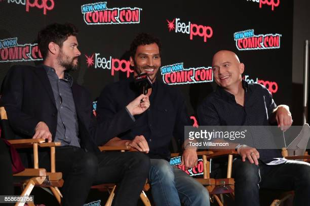 Brendan Hines Scott Speiser and Michael Cerveris attend Amazon Prime Video's The Tick New York Comic Con 2017 Panel at The Jacob K Javits Convention...