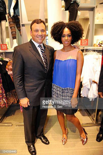 Brendan Hoffman and Solange Knowles attend Fashion Night Out at Lord Taylor on September 8 2011 in New York City