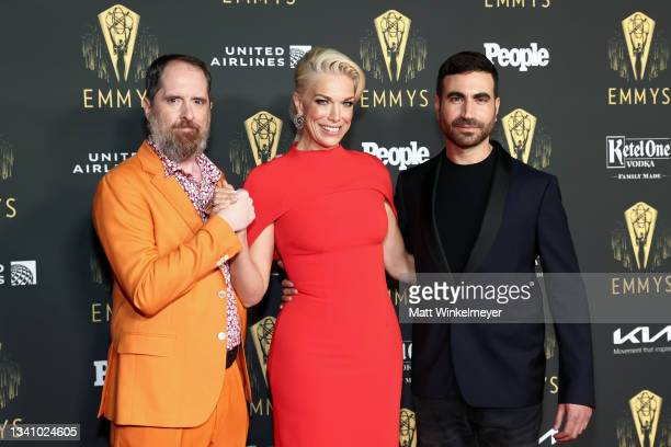 Brendan Hunt, Hannah Waddingham, and Brett Goldstein attend the Television Academy's Reception to Honor 73rd Emmy Award Nominees at Television...