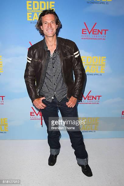 Brendan Jones arrives ahead of the Eddie The Eagle screening at Event Cinemas Bondi Junction on March 30 2016 in Sydney Australia