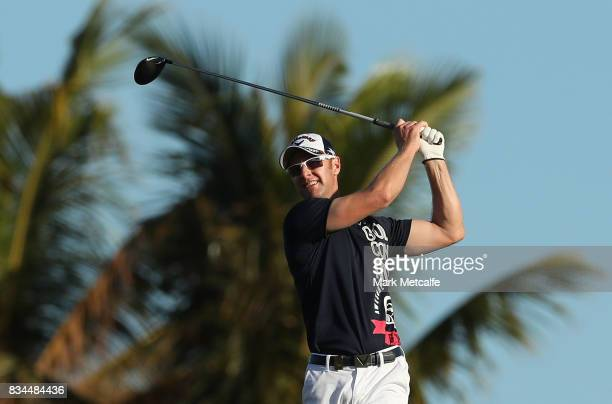 Brendan Jones of Australia hits his tee shot on the 11th hole during day two of the 2017 Fiji International at Natadola Bay Championship Golf Course...
