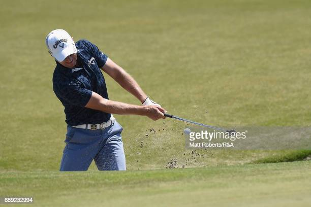Brendan Jones of Australia hits out of the 8th green bunker during the final round of Mizuno Open at JFE Setonaikai Golf Club on May 28 2017 in...