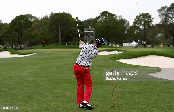 Brendan Jones of Australia plays a shot on the sixth hole during day one of the 2014 Australian PGA Championship at Royal Pines Resort on December 11...