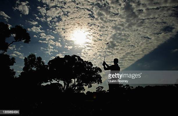 Brendan Jones of Australia plays an approach shot during day two of the 2011 Australian Masters at The Victoria Golf Club on December 16 2011 in...