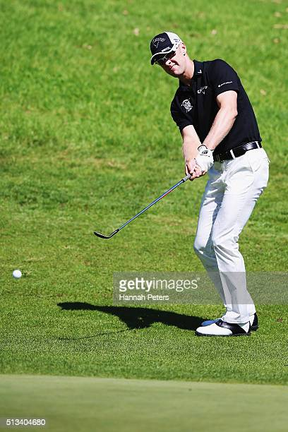 Brendan Jones of Australia plays an approach shot during the NZPGA Golf Championship at Remuera Golf Club on March 3 2016 in Auckland New Zealand