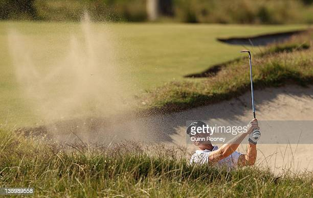 Brendan Jones of Australia plays out of the bunker during day two of the 2011 Australian Masters at The Victoria Golf Club on December 16 2011 in...