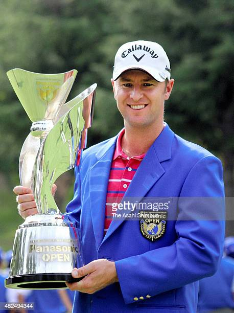 Brendan Jones of Australia poses for photographs with the trophy after winning the AsiaPacific Panasonic Open at Rokko Kokusai Golf Club East Course...