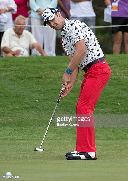 Brendan Jones of Australia putts on the sixth hole during day one of the 2014 Australian PGA Championship at Royal Pines Resort on December 11 2014...