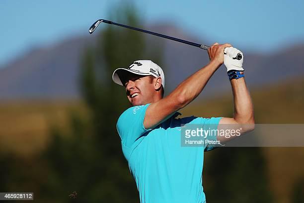 Brendan Jones of Australia tees off during day one of the New Zealand Open at Millbrook Resort on March 12 2015 in Queenstown New Zealand