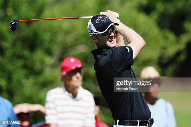 Brendan Jones of Australia tees off during the NZPGA Golf Championship at Remuera Golf Club on March 3 2016 in Auckland New Zealand