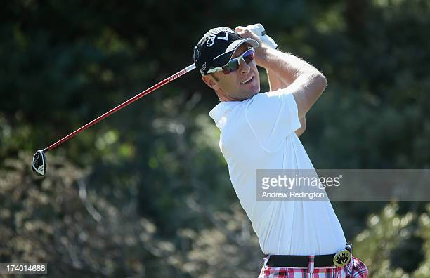 Brendan Jones of Australia tees off on the 3rd hole during the second round of the 142nd Open Championship at Muirfield on July 19 2013 in Gullane...