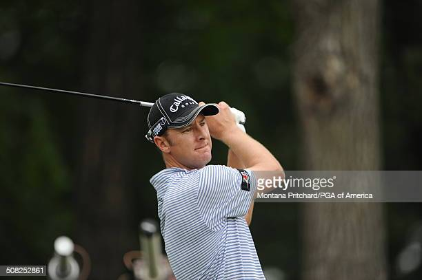 Brendan Jones watches his tee shot on hole 7 during the third round of play at the 91st PGA Championship at Hazeltine National Golf Club in Chaska...