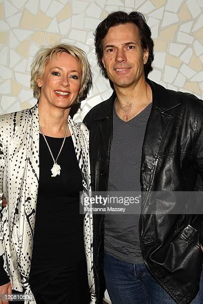 Brendan 'Jonesy' Jones and Amanda Keller arrive at the Nine Network 'Underbelly Razor' launch on August 11 2011 in Sydney Australia
