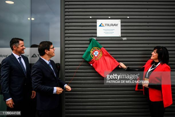 Brendan Kennedy CEO of Tilray medical cannabis producer and Portuguese state secretary for the internationalization Eurico Brilhante Dias look at the...