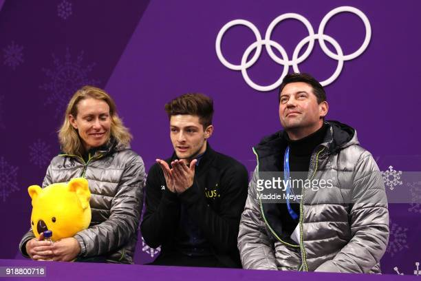 Brendan Kerry of Australia reacts after competing during the Men's Single Skating Short Program at Gangneung Ice Arena on February 16 2018 in...