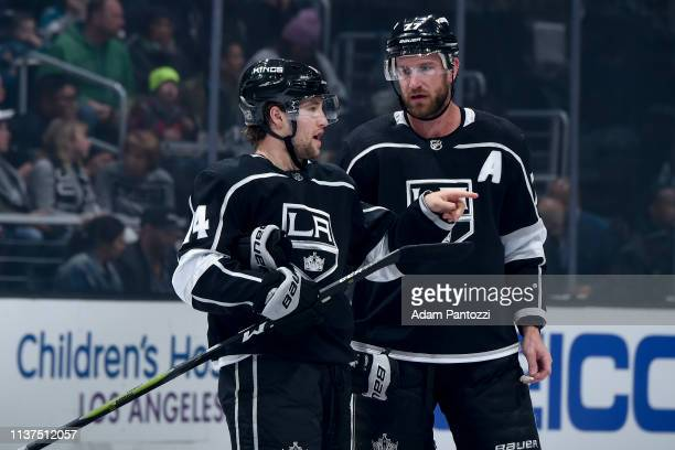 Brendan Leipsic and Jeff Carter of the Los Angeles Kings talk during the first period of the game against the San Jose Sharks at STAPLES Center on...