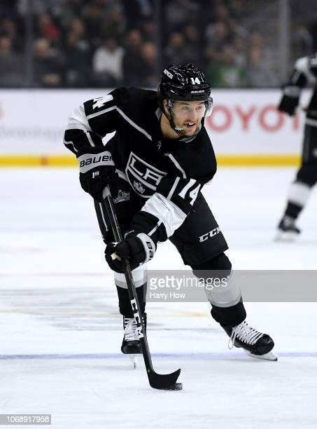 Brendan Leipsic of the Los Angeles Kings carries the puck over the blueline during the game against the Arizona Coyotes at Staples Center on December...