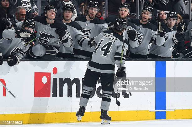 Brendan Leipsic of the Los Angeles Kings celebrates with the bench after scoring a third-period goal during the game against the Chicago Blackhawks...