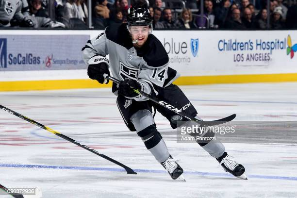 Brendan Leipsic of the Los Angeles Kings passes the puck during the third period of the game against the Edmonton Oilers at STAPLES Center on January...