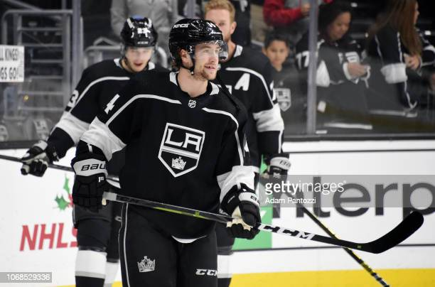 Brendan Leipsic of the Los Angeles Kings skates during warmup before his Kings debut in the game against the Arizona Coyotes at STAPLES Center on...