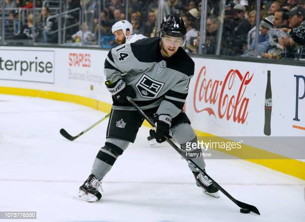 Brendan Leipsic of the Los Angeles Kings takes a pass on the powerplay against the Vegas Golden Knights at Staples Center on December 8, 2018 in Los...