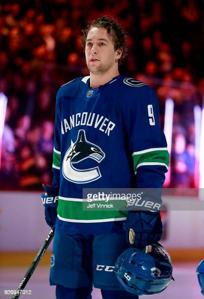 Brendan Leipsic of the Vancouver Canucks listens to the national anthem during their NHL game against the New York Rangers at Rogers Arena February...