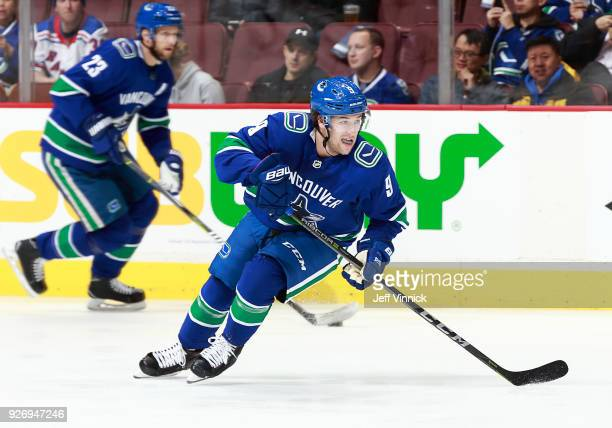 Brendan Leipsic of the Vancouver Canucks skates up ice during their NHL game against the New York Rangers at Rogers Arena February 28, 2018 in...