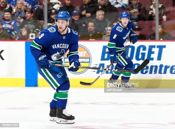 Brendan Leipsic of the Vancouver Canucks skates up ice during their NHL game against the New York Rangers at Rogers Arena February 28 2018 in...