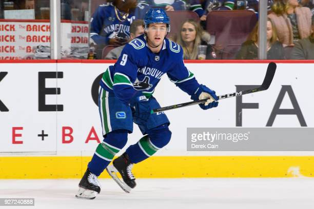 Brendan Leipsic of the Vancouver Canucks skates up ice during their NHL game against the Nashville Predators at Rogers Arena on March 2 2018 in...