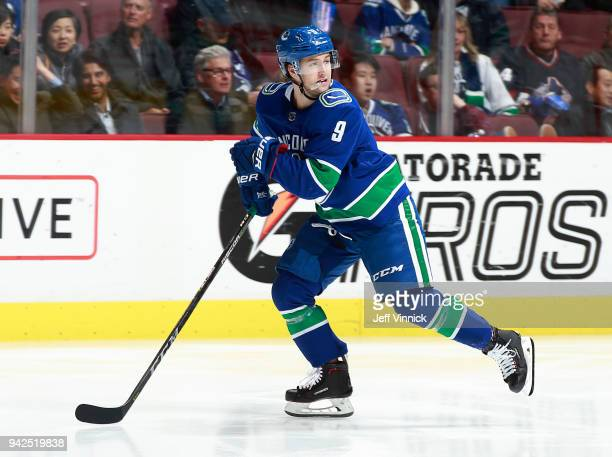 Brendan Leipsic of the Vancouver Canucks skates up ice during their NHL game against the Vegas Golden Knights at Rogers Arena April 3 2018 in...