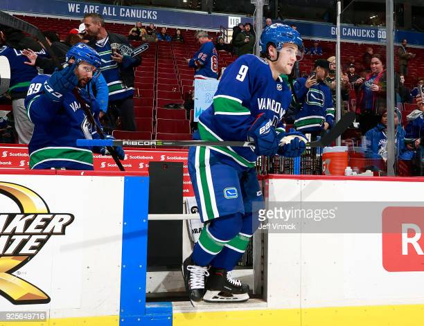 Brendan Leipsic of the Vancouver Canucks steps onto the ice during their NHL game against the New York Rangers at Rogers Arena February 28 2018 in...