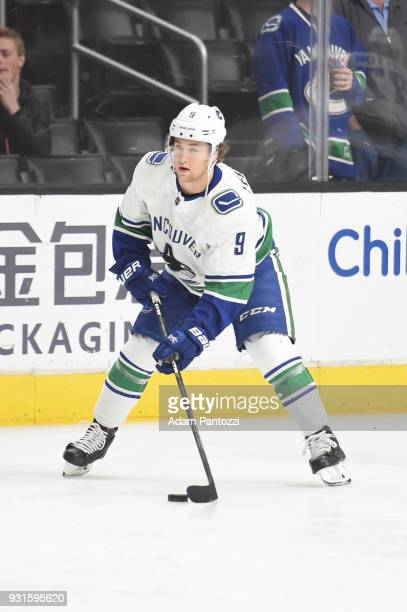 Brendan Leipsic of the Vancouver Canucks warms up before a game against the Los Angeles Kings at STAPLES Center on March 12 2018 in Los Angeles...